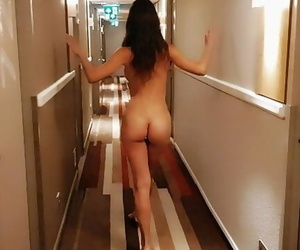 Nude Lady Walking around the..